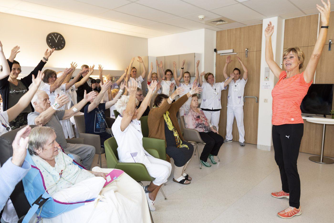 Sport voor patiënten op verpleegafdeling Máxima MC
