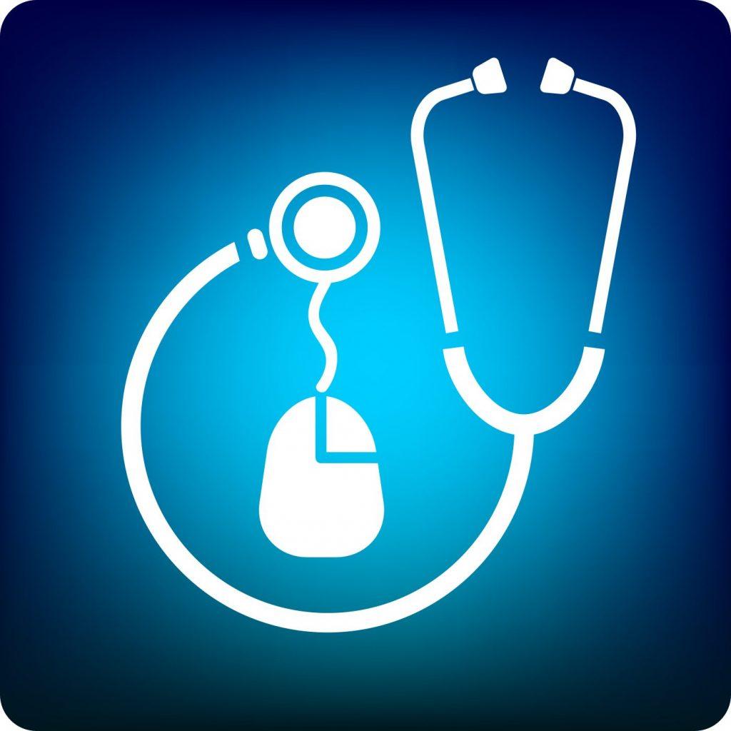 icoon van een stethoscoop en computermuis